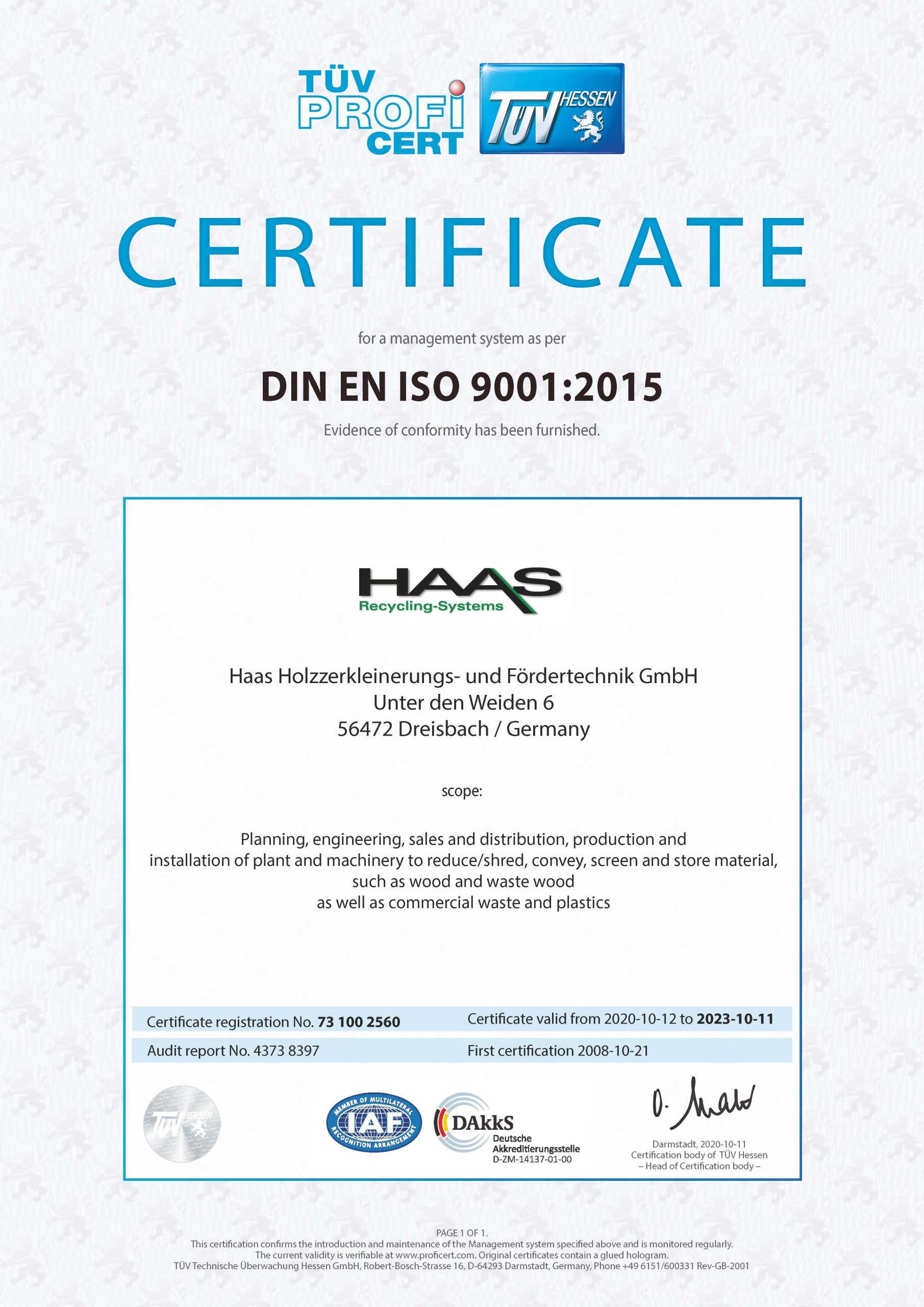 Technical Control Board (TÜV) Certificate Hessen 2008